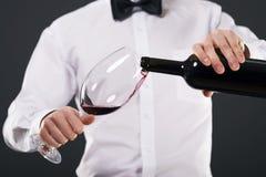 有玻璃和酒的典雅的人 免版税库存图片