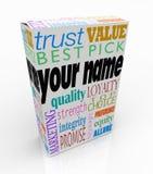 您的名字产品箱子包裹营销名誉您 免版税库存照片