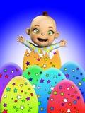 婴孩用复活节彩蛋 库存照片