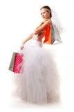 有购物袋的新娘 免版税库存照片