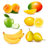 大套新鲜水果。 向量 图库摄影