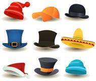 盖帽、高顶丝质礼帽和其他顶头穿戴集合 免版税图库摄影