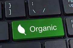 有有机的词和叶子集成电路的绿色键盘按钮 免版税库存图片