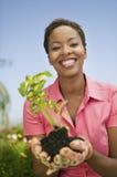 拿着植物的妇女 免版税库存图片