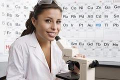 Σπουδαστής στο εργαστήριο επιστήμης Στοκ Εικόνες