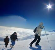 高山上升的远征 免版税库存照片