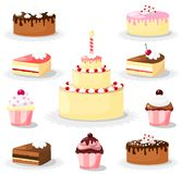 美好的蛋糕和杯形蛋糕集合,象 免版税库存照片