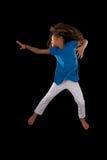 画象年轻非裔美国人女孩跳跃 库存照片