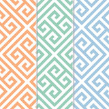在三颜色变异的无缝的希腊关键背景样式 库存照片