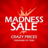 Έμβλημα πώλησης τρέλας. Στοκ Εικόνες