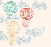 热空气气球在天空背景中 免版税库存照片