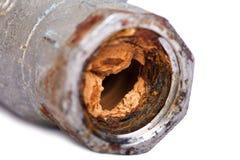 残破&铁锈阻拦了管子 库存图片