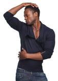 Άτομο αφροαμερικάνων με το χέρι στο κεφάλι Στοκ φωτογραφίες με δικαίωμα ελεύθερης χρήσης
