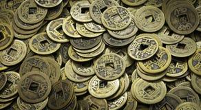 老中国硬币 免版税库存照片