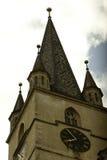福音派教会在锡比乌 免版税库存图片
