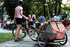 семьи велосипедиста Стоковые Фотографии RF