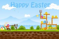 使用用复活节彩蛋的兔宝宝 免版税图库摄影