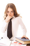 一点企业女孩调整他的玻璃 免版税库存图片