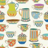茶杯无缝的背景 免版税库存照片