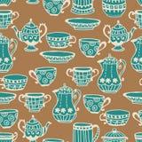 茶杯无缝的背景 免版税库存图片