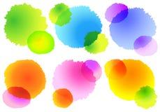 五颜六色的水彩飞溅,传染媒介 免版税库存图片