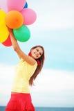 有气球的女孩 库存照片