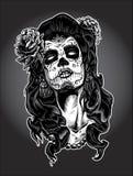 Ημέρα της νεκρής γυναίκας με το χρώμα προσώπου κρανίων ζάχαρης Στοκ Εικόνες