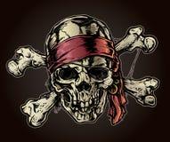 有班丹纳花绸的海盗头骨 免版税库存图片
