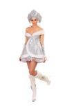 Сексуальная молодая женщина одетая как девушка снежка Стоковое Фото