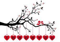 在树与红色心脏,传染媒介的鸟 免版税图库摄影