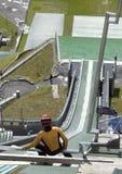 跳接器准备好的滑雪 库存图片