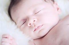 新出生的婴孩面孔 免版税库存照片
