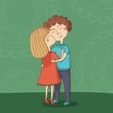 多文化男孩和女孩亲吻的例证 免版税库存图片