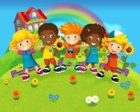 小组愉快的学龄前孩子-孩子的五颜六色的例证 免版税图库摄影