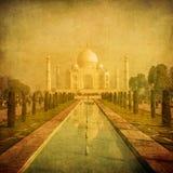 泰姬陵,阿格拉,印度的葡萄酒图象 免版税图库摄影