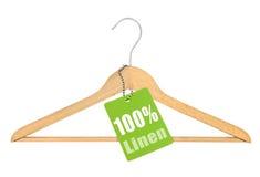 与百分之一百的挂衣架亚麻布 库存图片