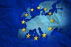 欧盟被弄皱的地图  免版税库存图片