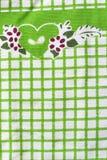 Детальная зеленая ткань пикника Стоковое Фото