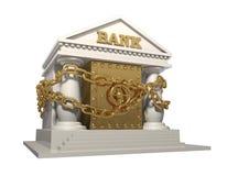 Τράπεζα με το χρηματοκιβώτιο, που μπλέκεται από μια αλυσίδα για την αξιοπιστία Στοκ Φωτογραφία
