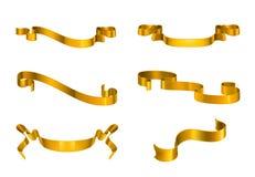 Χρυσές κορδέλλες καθορισμένες Στοκ εικόνες με δικαίωμα ελεύθερης χρήσης