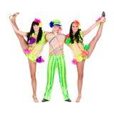 杂技演员做分裂的狂欢节舞蹈家 免版税库存图片