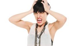 尖叫的妇女在痛苦中 免版税库存图片