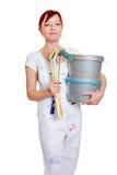 Колеривщик с ведрами краски Стоковые Фотографии RF
