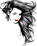 有精密头发的女孩从我的幻想 库存照片
