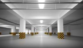 Интерьер стоянкы автомобилей пустой белизны подземный Стоковые Изображения