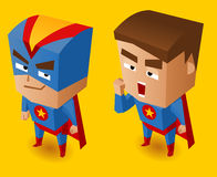 两个蓝色超级英雄 库存照片