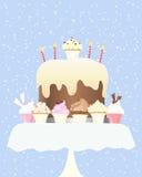 杯形蛋糕生日 免版税图库摄影