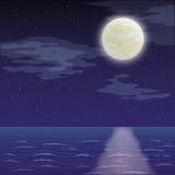 风景、夜海和天空 库存图片