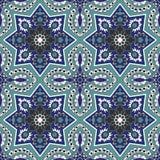 在蓝色和绿松石的蔓藤花纹无缝的样式 库存照片