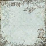 古色古香的葡萄酒神仙和花背景 免版税库存照片